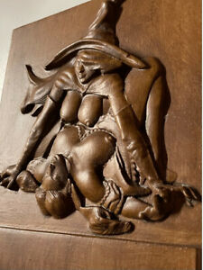 """Wood Carving Witch Nude 7.5"""" x 7"""" x 1.25""""  Bas-Relief Witch on Witch"""