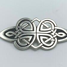 Vintage Scottish St Justin Celtic Knot Pewter Modernist Brooch Pin