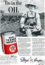 1937 Print Ad Texaco Motor Oil Stays Full Longer farmer in the field
