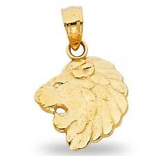 Lion Head Pendant Solid 14k Yellow Gold Leo Charm Zodiac Sign Polished Design