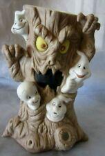 Vintage Casper Friendly Ghost Spooky Tree Porcelain Candle Holder Halloween 1986