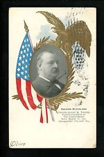 Presidential postcard Flag gold trim eagle embossed c1904 Grover Cleveland
