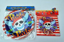 Halloween Pirate Party Paper Plates & Napkins Set Supplies Tableware