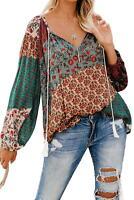 BoHo Top Floral Print Peasant Blouse All Seasons NEW Small 4/6