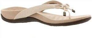 Vionic Leather Thong SandalsBow Bella II Woven Cream 7M NEW A375234