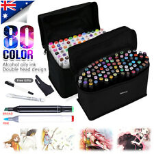 80 Colors Marker Pen Set Graphic Art Sketch Twin Point Broad Painting Touch AU