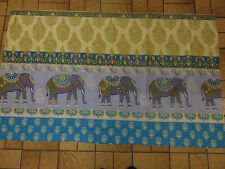 Indian Elephant Elephants blue teal gold grey remnant fabric piece 135x80cm
