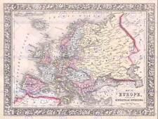 1864 MITCHELL MAP EUROPE VINTAGE POSTER ART PRINT 12x16 inch 30x40cm 2946PY