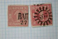 Germany Bavaria sc#4 & 4a 1kr used thin fault