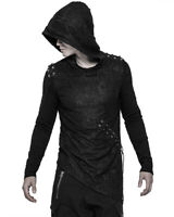 Punk Rave Mens Dieselpunk Hoodie Black Gothic Dystopian Apocalyptic Hooded Top