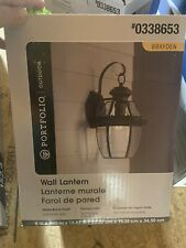 Portfolio Outdoor Wall Lantern (Matte Black Finish and Clear Glass)