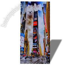 New York Hochhaus Werbung Wandbild Bild Kunstdruck Druck auf MDF Holz 25 x 51 cm