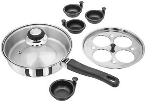 Egg Poaching Pan  4 Egg Poacher 4 Eggs Poaching Pan Suit all hobs incl INDUCTION
