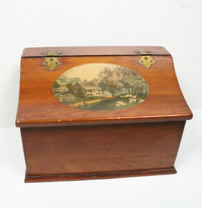 Vintage Currier & Ives Spring Decoupage Wooden Hinged Top Desk Craft Storage Box