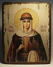 Handmade copy ancient ORTHODOX CHURCH ICON of St Equal-to-the-Apostles Olga 85S