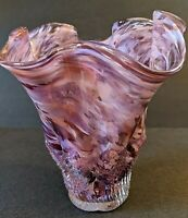 VINTAGE MURANO STYLE RETRO MID CENTURY SWIRLED PURPLE ART GLASS FLOWER VASE