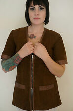 60s vintage brown suede leather jacket by Ruby Globes - Robin Hood phesant style