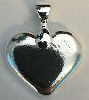 "1oz Hand Poured 999 Silver Bullion Bar ""Heart"" With bail by YPS"