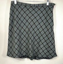Abercrombie & Fitch A Line Blue Tan Plaid Skirt Size 8 Wool Blend Lined Tartan