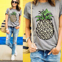 Women Pineapple Print Short Sleeve T-Shirt Summer Beach Casual Top Cartoon Shirt