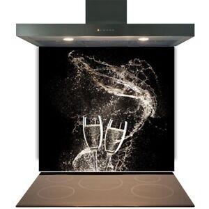 Kitchen Glass Splashback Toughened Tile Cooker Panel Any Size Champagne Swirls