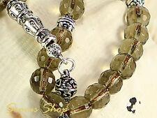Islamische Gebetskette TESBIH RAUCHQUARZ - DUMANLI QUARTZ mit 925 er Silberkette