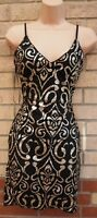 QUIZ BLACK STRAPPY GOLD PAISLEY GLITTER SPARKLY BODYCON PARTY EVENING DRESS 8 S
