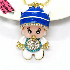 Blue Enamel Crystal Resin Cute Baby Pendant Betsey Johnson Chain Necklace