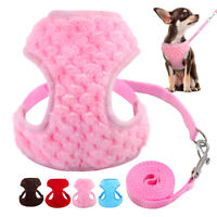 Soft Plush Dog Harness and Leads Pet Puppy Cat Vest Yorkie Pink Blue Red Brown