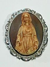 *NEW LISTING**LARGE BLESSED VIRGIN MARY CAMEO BROOCH/PENDANT COMBO.NAT.SILVER