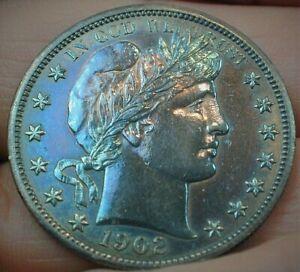 1902 Barber Silver Half Dollar Uncirculated Details Cleaned/Retoned  (446)