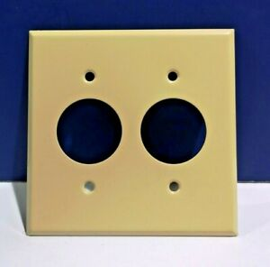 2-Gang IVORY Receptacle Outlet METAL WALL PLATE Cover 2-Hole SR-2I NEW