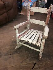"""ANTIQUE WOOD CHILDS CHAIR PRIMITIVE 21"""" TALL FABULOUS CHIPPY WHITE/RED PAINT"""