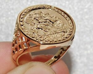 9ct Yellow Gold on Silver St George Coin Ring - ALL SIZES AVAILABLE inc LARGE