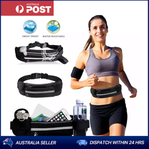 Black Sports Running Belt Travel Bag Wallet Money Fanny Pack Zip Belt AU Stock