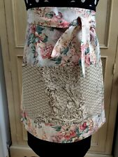 Handmade Half Ladies Pocket Apron Up-cycled Cotton & New French Toile De Jouy XL