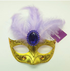 MARDI GRAS Mask Clip-On Ornament Tree Party Decor Gold with Purple Feathers