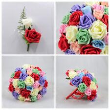 Artificial Wedding Flowers Multi Coloured Foam Rose Bouquet Package