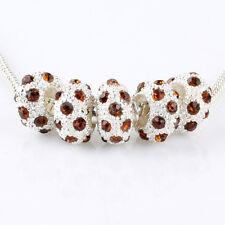5pcs Silver Brown CZ Nest Big Hole Beads Fit European Charm Bracelet DIY
