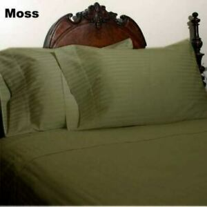 Moss Striped Split Corner Bed Skirt Choose Drop Length All US Size 1000 TC