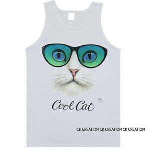 Cool Cat With Glasses Animal Pet Lover Graphic Tank Top