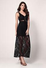 Robe longue de soirée Sexy Glamour moulante  dentelle transparente Noire