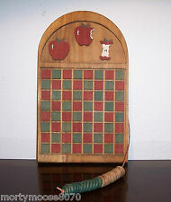 WOODEN CHECKERS BOARD GAME HANGS ON WALL PERFECT FOR SMALL SPACES, RV, MINT COND