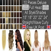 """Deluxe Full Head 15"""" 18"""" 20"""" 22"""" 24"""" Clip in Hair Extensions Straight/Wavy Curly"""