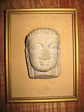 Antique Carved Stone Head Fragment Of Statue Far East? Near East? Mystery