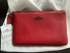 Brand New Coach Leather Wristlet Clutch Pouch Bag Apple Red