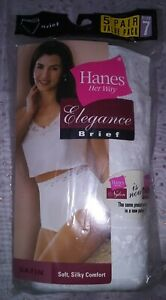 Hanes Her Way 2004 White Satin Elegance Nylon Briefs Panties 5 Pair Size 7