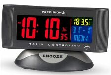 Radio Controlled LCD Digital Alarm Clock Mains or Battery Coloured Display