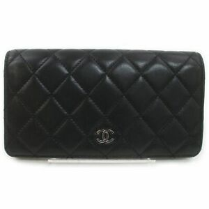 Chanel Long Wallet  Black Leather 1405095