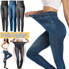 Women Skinny Leggings Denim Look Jeans Jeggings Stretchy High Waist Pant Trouser